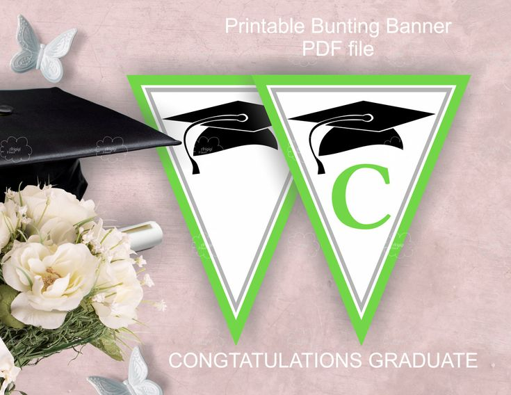 Green #Graduation #Party #Garland, printable, #PDF #files, congratulations graduate, grade cap image, download http://etsy.me/2BOXGXh #papergoods #green #graduation #white #greengraduation #graduationparty #partybanner #printable #pdffiles