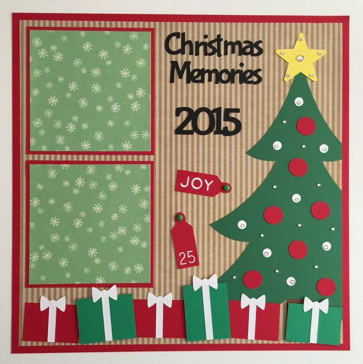 "Handmade Premade 12x12 ""Christmas Memories"" Scrapbook Page Layout, Christmas"