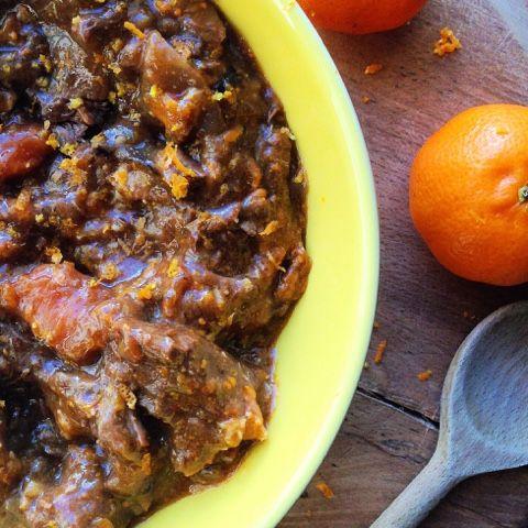 Clementine and harissa braised beef stew