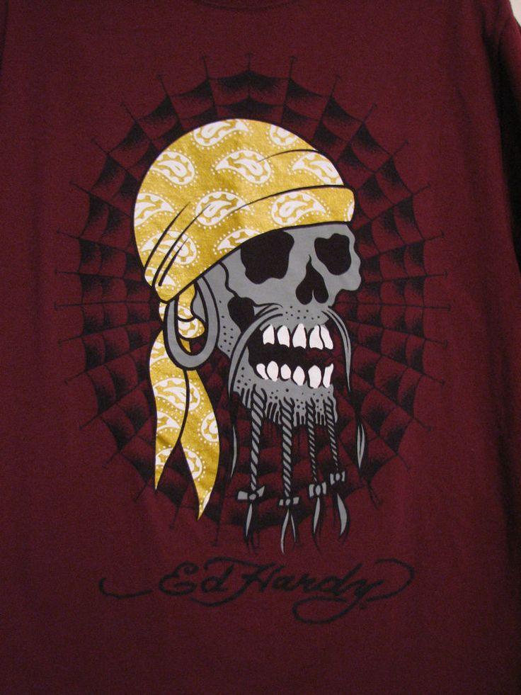 Ed Hardy Skull Pirate Gold Do Rag Maroon Crew Neck Medium Basic T Shirt EUC #EdHardy #GraphicTee