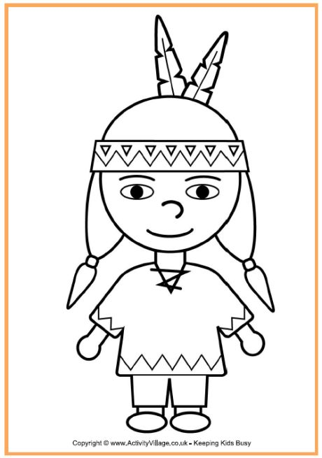 Native American Boy Coloring Page Thanksgiving Coloring