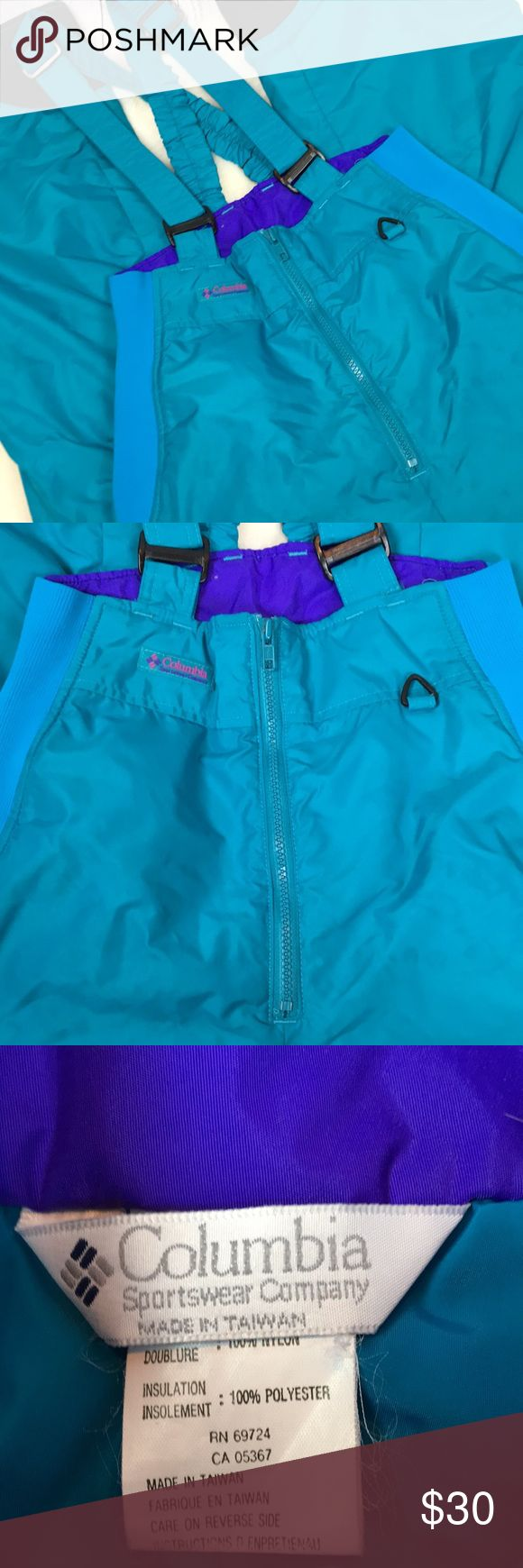 "❄️ Columbia VINTAGE Teal Neon Pop Snow Bibs Sz M Get ready to hit the slopes in RETRO style!!! Awesome Columbia WARM snow overalls ... perfect for the upcoming season. These are more TEAL then I can get the pictures to show. Totally RAD!!!! Adjustable straps. Women's Size Medium. Inseam is 30"". Zippered waist with elastic sides. In her good condition from a smoke free home!! Columbia Pants"