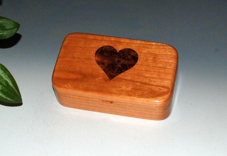Cherry Wood Treasure Box with a Redwood Burl Inlay Heart - Small Wood Box, Treasure Box, Keepsake Box, Small Jewelry Box, Wooden Box, Boxes by BurlWoodBox on Etsy