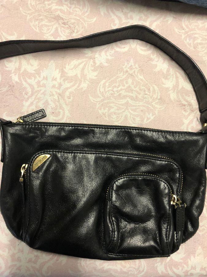 Francesco Biasia Black Leather 3 Compartment Shoulder Bag Handbag ... cad0e2f8770b2