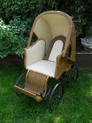 * RARE * Vintage Victorian  Wicker BABY Pram
