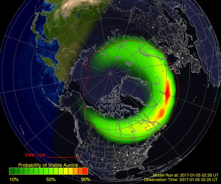 Predicted forecast for the aurora borealis northern lights on January 5 by the NOAA Space Weather Prediction Center