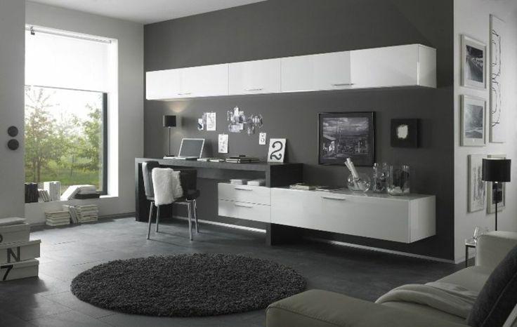 wohnwand design mit schreibtisch und schr nken zuk nftige projekte pinterest schreibtische. Black Bedroom Furniture Sets. Home Design Ideas