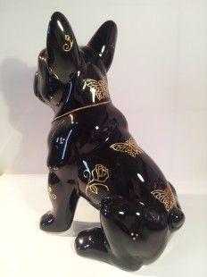 """Statue bouledogue français céramique, """"Fly"""" unique - par Les-animaux-de-laure-terrier - http://www.alittlemarket.com/accessoires-de-maison/statue_bouledogue_francais_ceramique_fly_unique_l_terrier_-3458721.html"""