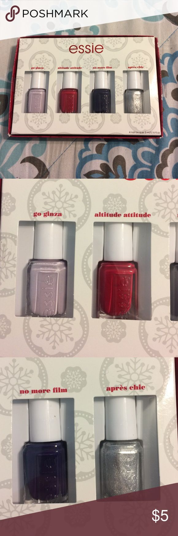 Essie Nail Polish Quad Brand new. Gift set. Go ginza. Altitude attitude. No more film. And apres chic. Please don't hesitate to ask any questions you have. Don't like my price? Make an offer. 30% OFF ANY BUNDLE!! Essie Makeup