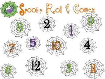 Halloween Freebie Roll and Cover numbers 1- 10