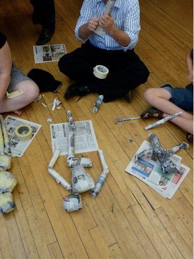 Newspaper puppet workshop. Rogue Artists Ensemble.