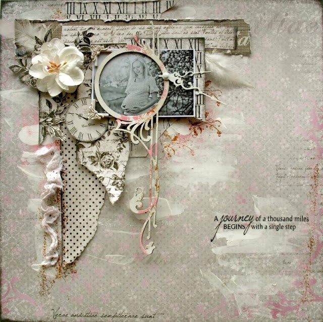 A journey of a thousand miles begins with a single step...clever vintage clock theme with beautiful lace accents.
