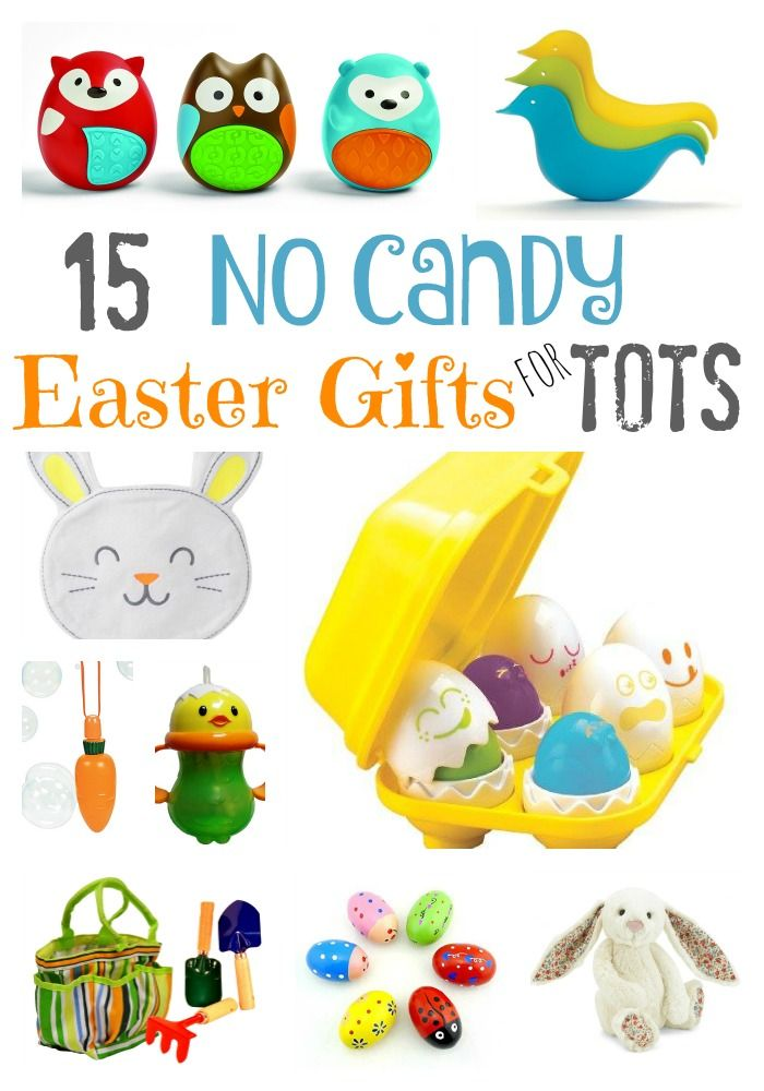 No Candy Easter Basket Gift Ideas for Toddlers and Preschoolers. Avoid too much Chocolate at Easter and take a peak at these wonderful ideas from Carrot bubble wands to squeaky egg shakers. Lots of fun quality ideas.