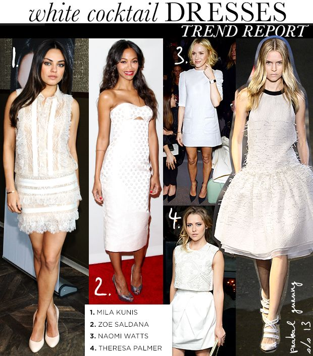 On Trend #Spring2013: White Cocktail Dresses. My Fav nr3. Simply lines for Naomi Watts choice