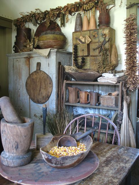 Inspiration for the kitchen of a rustic cabin, cottage, lodge or beach house. Love that it's in blue and brown.