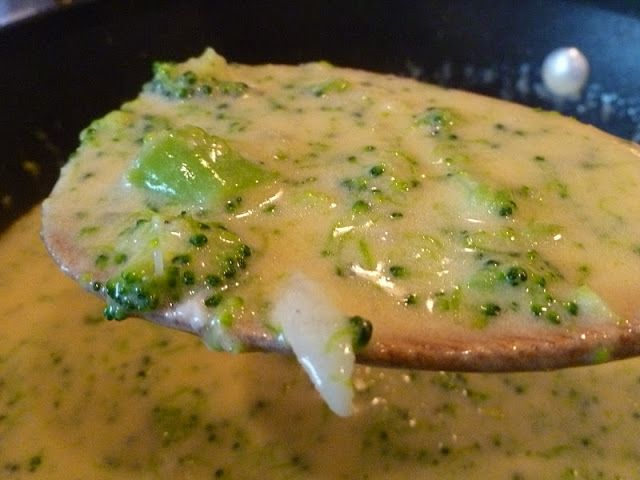 Only From Scratch: Broccoli Cheese Soup. Make sure tocook broccoli soft before adding to soup!