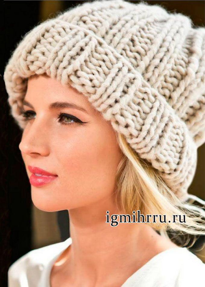 Теплая светло-бежевая шапка из толстой пряжи. Вязание спицами