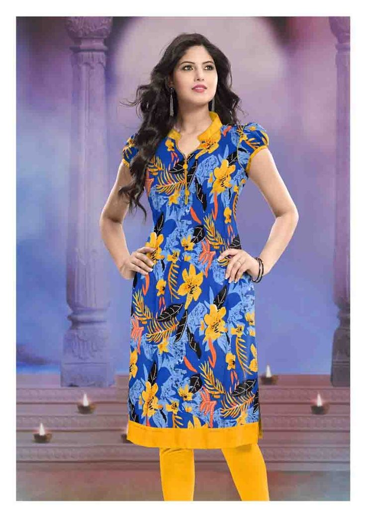 Indian Traditional Flower Printed Blue and Yellow Colour Elbow Sleeve Cotton Officewear & Casual Wear High Neck Kurti