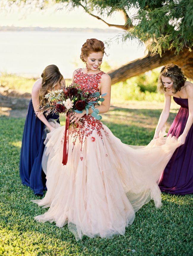 Floral red wedding dress!