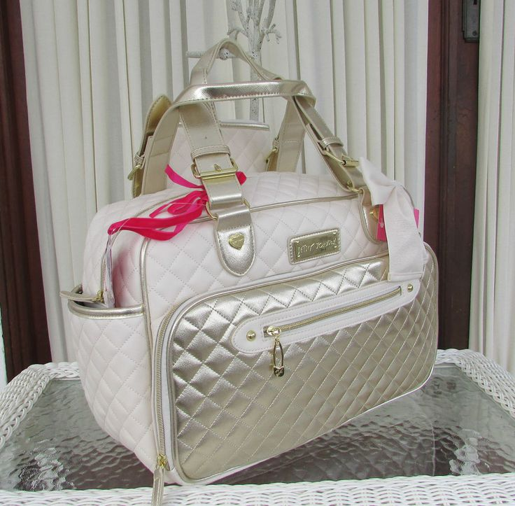Betsey Johnson Downtown Diaper Bag Tote 3 Pc Diamond Quilt Gold Weekender NWT