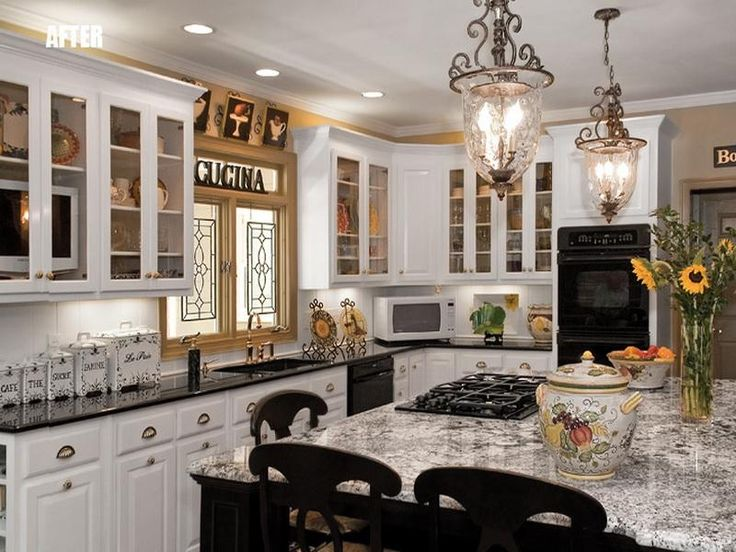 Bianco Antico Granite On Dark Island White Cabinets With