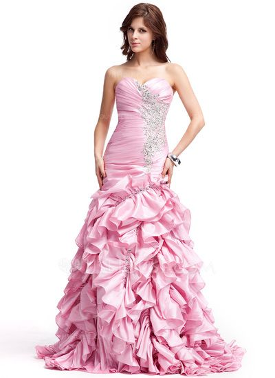 Evening Dresses - $176.99 - A-Line/Princess Sweetheart Sweep Train Taffeta Evening Dress With Embroidered Ruffle Beading Sequins (008018931) http://jjshouse.com/A-Line-Princess-Sweetheart-Sweep-Train-Taffeta-Evening-Dress-With-Embroidered-Ruffle-Beading-Sequins-008018931-g18931