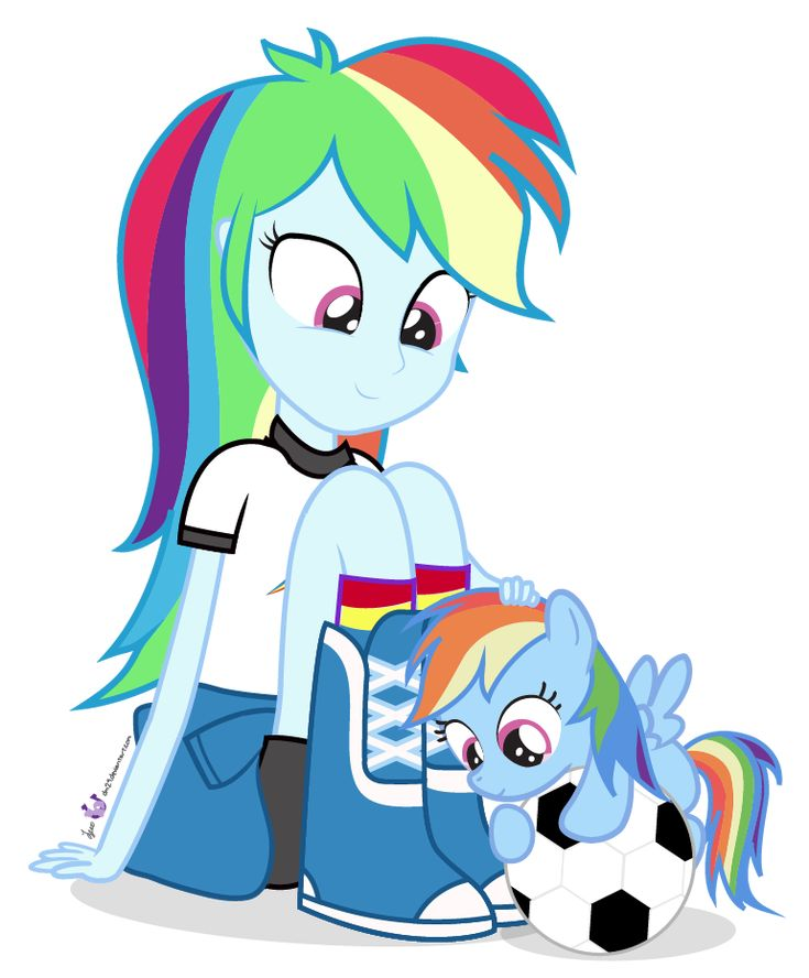 Pony And Equestrian Girl Rainbow Dash