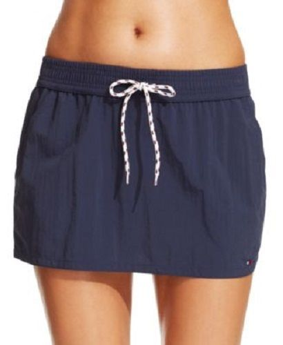 Tommy Hilfiger Womens Drawstring Board Skirt Swimsuit Cover Up Blue