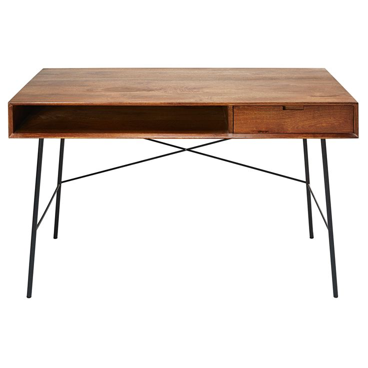 Solid mango wood and black metal 1-drawer desk Arty