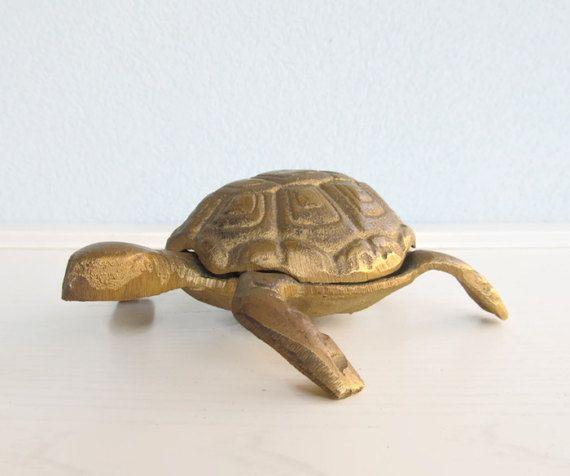 Vintage Hinged Ashtray Turtle Tortoise Animal Mid Century