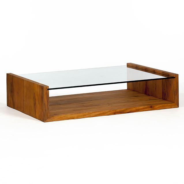 mesa viga em U com tampo de vidro rebaixado