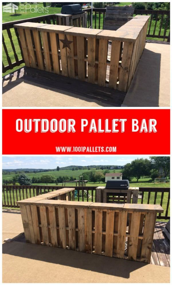 Outdoor Pallet Bar I used 8 pallets and patio pavers to create this bar on our deck.