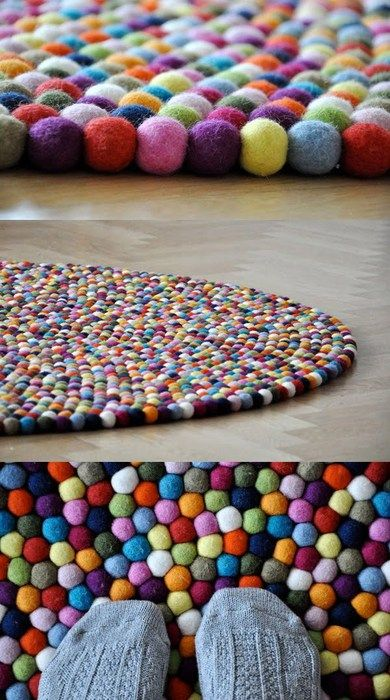 Felt Ball Rug.: Idea, Pom Poms, Craft, Felted Ball, Pompom, Felt Ball Rug, Kids Room, Rugs
