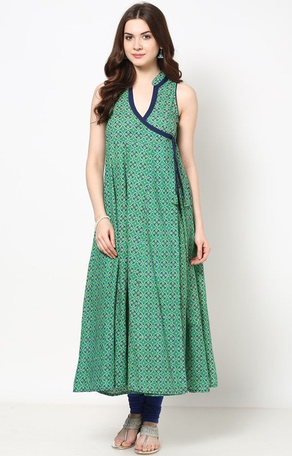 Green Printed Angrakha style Cotton Anarkali Kurti