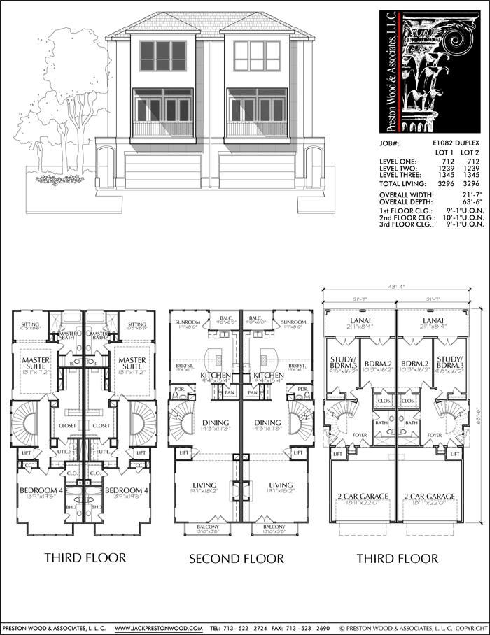 Three Story Duplex Townhouse Plan E1082 Town House Floor Plan Townhouse Townhouse Designs