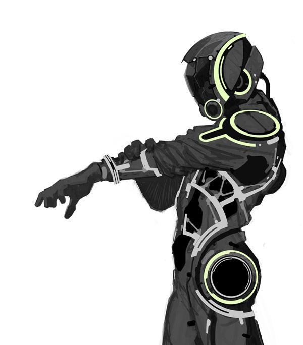 Mike Ballan Tron -esque space suit concept art sci-fi science fiction techno