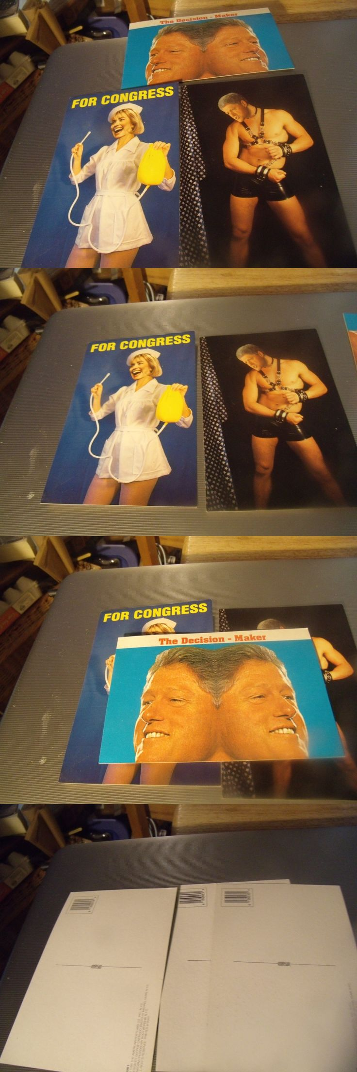 Bill Clinton: 3 Anti Bill And Hillary Clinton Postcards From 1995 -> BUY IT NOW ONLY: $3.99 on eBay!