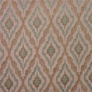 This is an off white lightly embroidered Ikat design in pale blue/green and silver drapery fabric by Swavelle Mill Creek Fabrics, suitable for any dcor in the home or office. Perfect for pillows, drapes, bedding, tableskirts and shower curtains.v112AFR