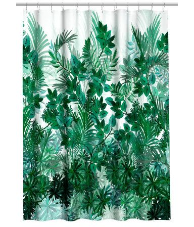 White/leaves. Shower curtain in water-repellent polyester with a printed pattern. Metal grommets at top. Shower curtain rings sold separately.