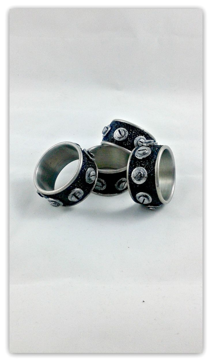 Industrial Napkin Rings - set of 4 stainless steel and polymer clay napkin rings - pinned by pin4etsy.com