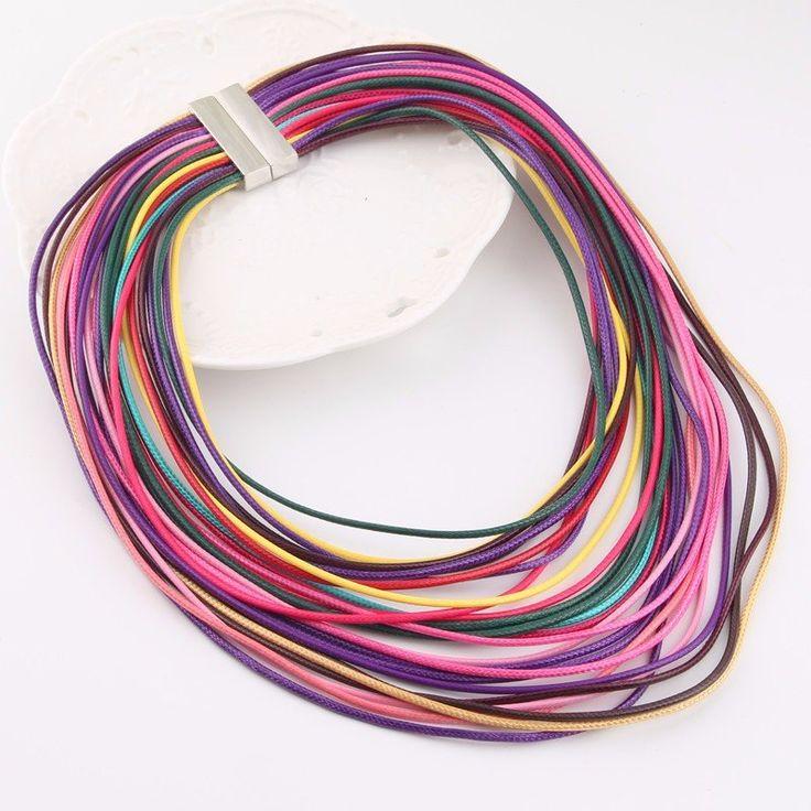 Многослойные Waxed ожерелье кожаный шнур магнит крюк кисточкой ожерелье