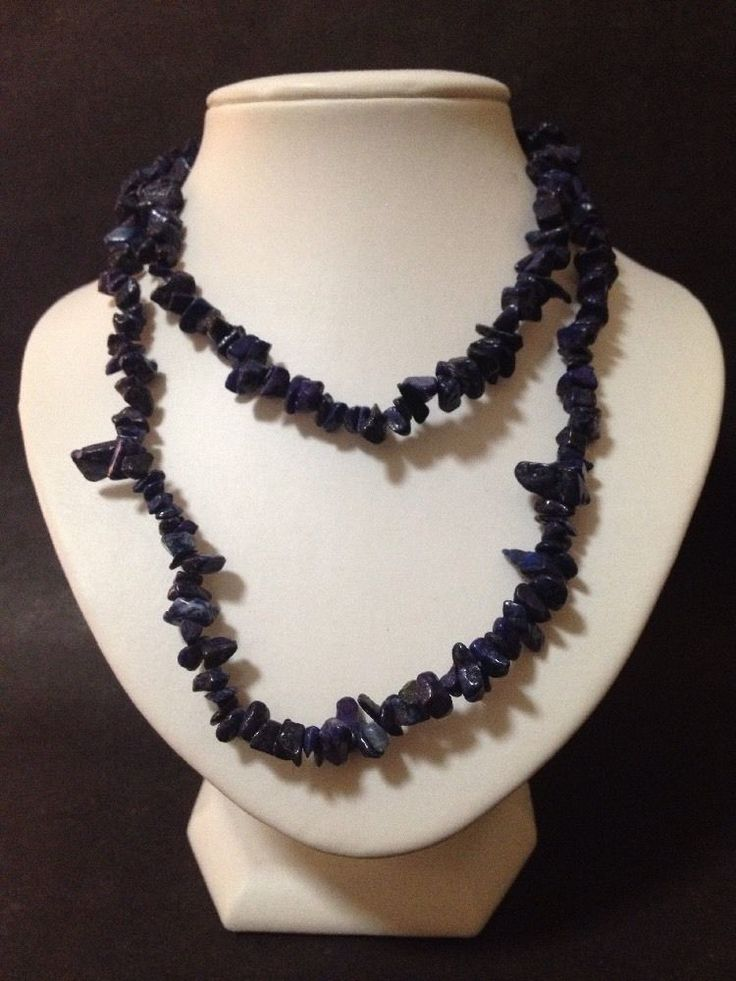 Pre Owned Blue Lapis Lazuli Chips / Beads Strand Necklace - Good Condition