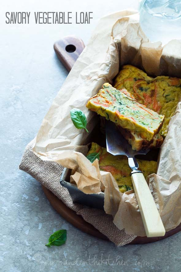 A savory vegetable loaf brimming with summer squash, zucchini and carrots. @Sylvie   Gourmande in the Kitchen