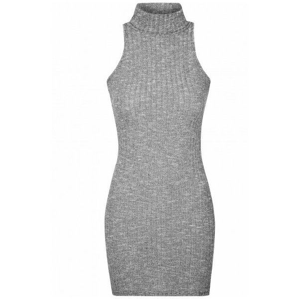 Grey Marl Polo Neck Bodycon Dress ($31) ❤ liked on Polyvore featuring dresses, grey, turtleneck top, bodycon dress, grey turtleneck, grey dress and sleeveless dress