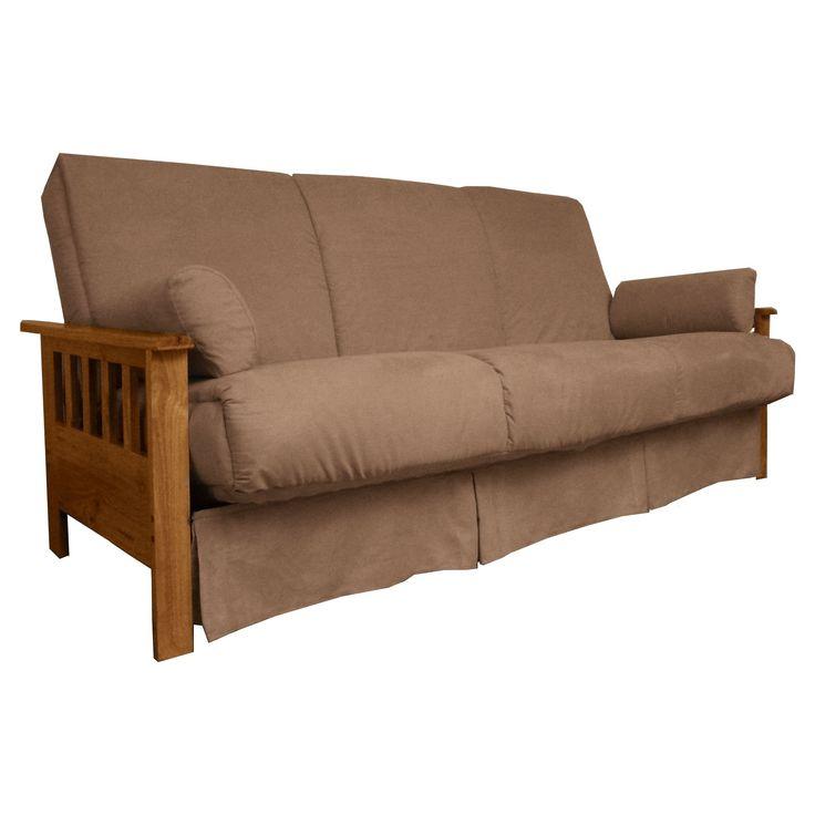 Mission Perfect Convertible Futon Sofa Sleeper - Medium Oak Finish Wood Arms - Mocha Brown Upholstery - Chair-size - Sit N Sleep, Pecan