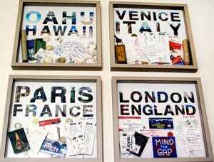 Travel wall. Great way to display all those tickets, museum stubs, postcards, etc, that you buy on your trips but never get around to scrapbooking...Doing it!