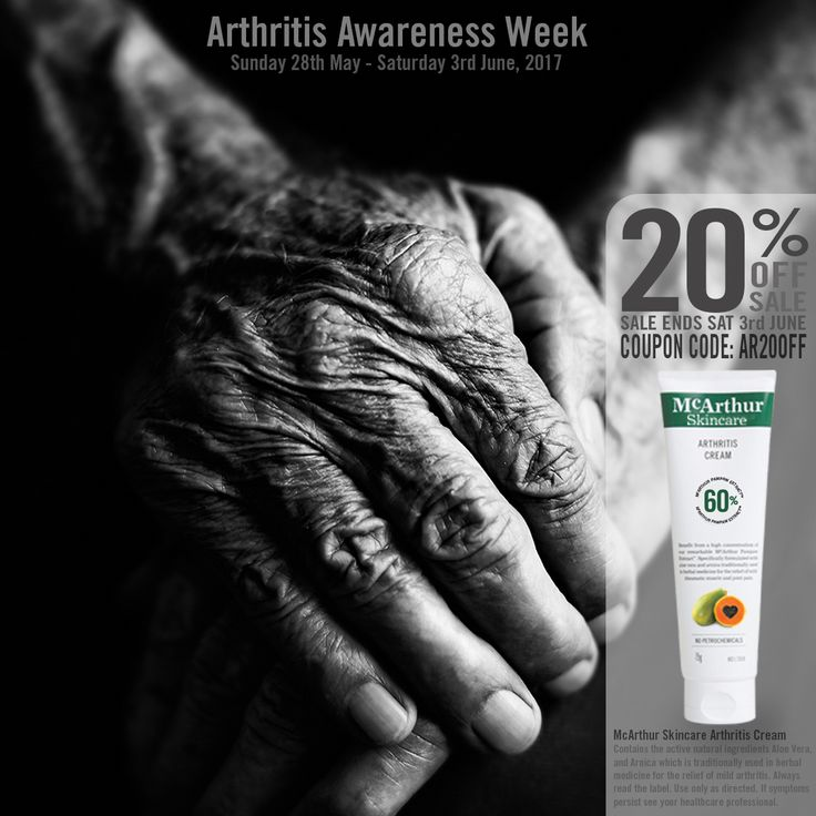 20% OFF McArthur Skincare Arthritis Cream  Save 20% OFF popular McArthur Skincare Arthritis Cream during Australian Arthritis Awareness Week.  Coupon code: AR20OFF http://mcarthurskincare.com/products/arthritis-cream-75g/  Not available in conjunction with any other offer. Expires Midnight (AWST) Sat 3rd June, 2017.  McArthur Skincare Arthritis Cream contains the active natural ingredients Aloe Vera, and Arnica which is traditionally used in herbal medicine for the relief of mild arthritis…
