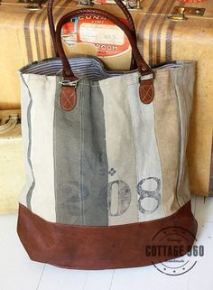 Recycled Canvas Handbags from my work. Mona B.