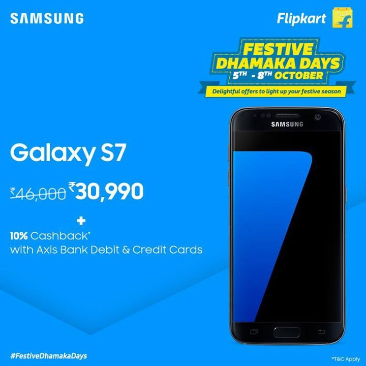 Lighten up your festive season with delightful offers on #GalaxyS7, only during #FestiveDhamakaDays on Flipkart. Buy now at a special price of INR 30,990 and avail 10% additional cashback on Axis Bank credit and debit cards. http://spr.ly/61828fnQ2 #fashion #style #stylish #love #me #cute #photooftheday #nails #hair #beauty #beautiful #design #model #dress #shoes #heels #styles #outfit #purse #jewelry #shopping #glam #cheerfriends #bestfriends #cheer #friends #indianapolis #cheerleader…