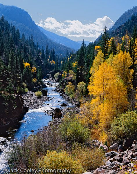 #113 Poudre River - Fall Colors by Jack Cooley Photography.    The Poudre River flows north out of Rocky Mountain National Park then east along Colorado 14 into Fort Collins.